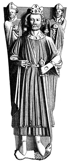 A drawing of the effigy of King John in Worcester Cathedral.