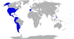 English: Countries where exist a spanish langu...