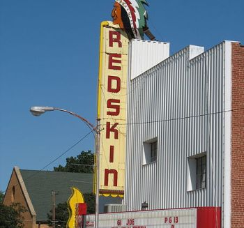 Opened in 1947, the Redskin Theatre is located in downtown Anadarko, Oklahoma