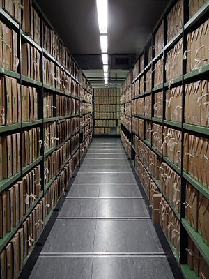 A corridor of files at The National Archives a...