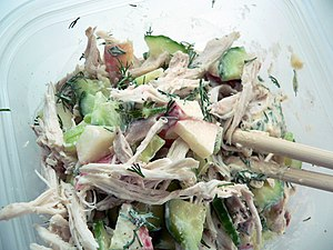 A chicken salad made from chicken used for sou...