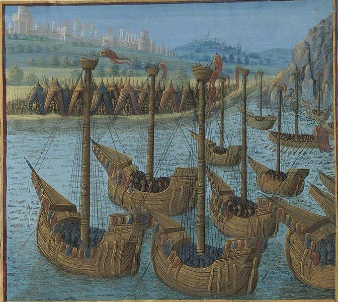 File:Français 5594, fol. 217 haut, Flotte des croisés devant Byzance.jpeg