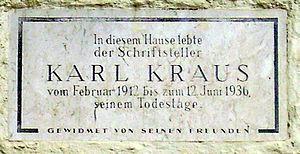 Karl Kraus, memorial plaque in Vienna, Lothrin...