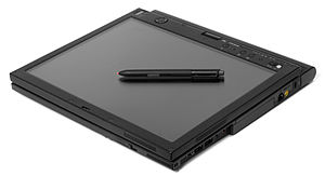 English: A Lenovo X61 tablet laptop shown in t...