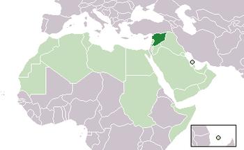 Map of Syria, Arab States.