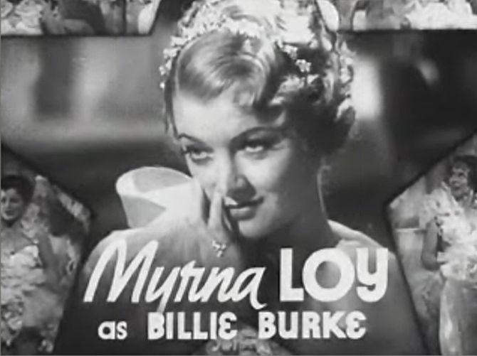 Cropped screenshot of Myrna Loy as Billie Burk...