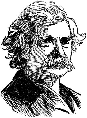 English: Portrait drawing of Mark Twain's head