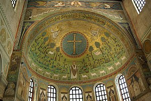 The 6th century Byzantine mosaic in the apse o...