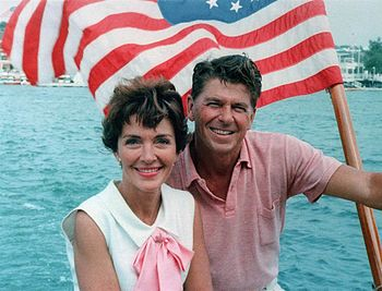 Ronald Reagan and Nancy Reagan aboard an Ameri...