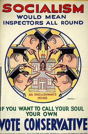UK Conservative Party poster from 1929 warning...
