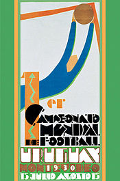 "Poster in Art Deco style, depicting a simplified figure of a goalkeeper making a save in its upper half. The lower half contains writing in a heavily stylised font: ""1er Campeonato Mundial de Futbol"" in black, and ""Uruguay 1930 Montevideo 15 Julio Agosto 15"" in white and orange."