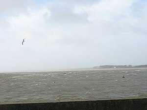English: An angry looking Menai Straits from t...