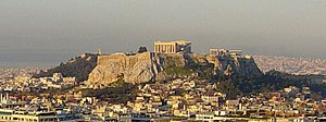 Acropolis of Athens at dawn, view from St. Geo...