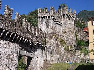 The Murata or city wall of Bellinzona