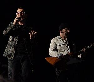 English: An image of Bono and The Edge of U2, ...