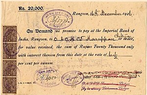 1926 Promissory Note from the Imperial Bank of...