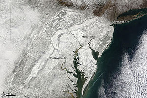 Snow-covered Mid-Atlantic region of the United...
