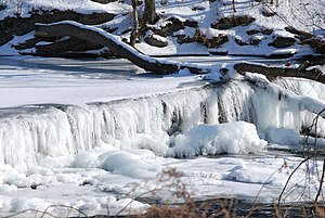 A frozen waterfall on the Wappinger Creek, Dut...