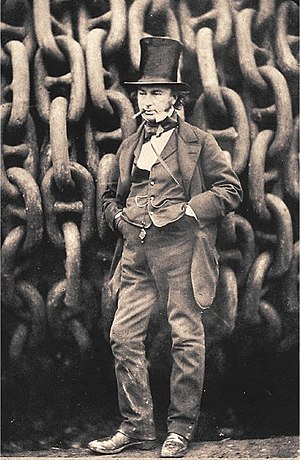 English: Isambard Kingdom Brunel against the l...