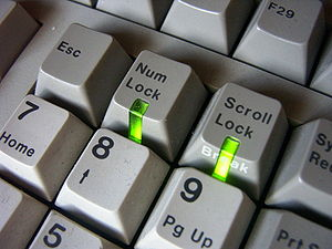 NCR keyboard with Num Lock and Scroll Lock key...