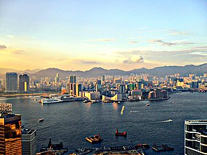 Hong Kong harbour and Kowloon from the Island ...