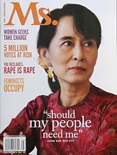 Suu Kyi on the cover of Ms. in 2012