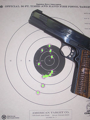 English: Kimber Raptor .45Acp with NRA B-3 tar...