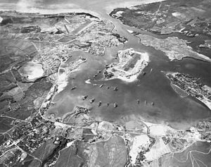 Aerial view of the U.S. Naval Operating Base, ...