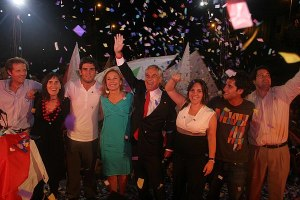 Piñera celebrated victory alongside wife and family in 2010.