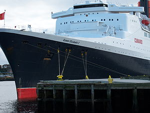 Bow of the RMS Queen Elizabeth 2 docked at Nor...
