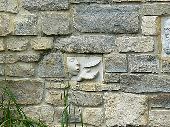 English: Bas-relief, River Wall, Calne This is...