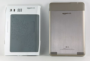 The back of the Kindle 1 (Left) and Kindle 2 (...