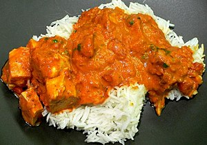 Chicken Tikka Massala served with rice.