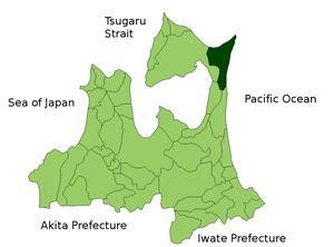 Location Map of Higashidori in Aomori Prefectu...