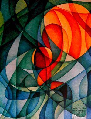 English: Acrylic paint on canvas. Theme quantu...