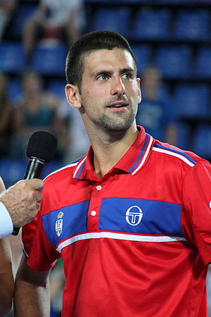 English: Novak Djokovic was interviewed after ...
