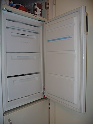 Freezer with open door.