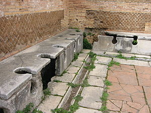 Ancient roman latrines / latrinae, Ostia Antica