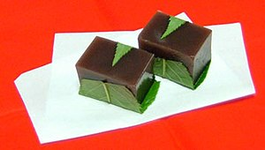 Yōkan (羊羹, Yōkan) is a thick jellied dessert m...