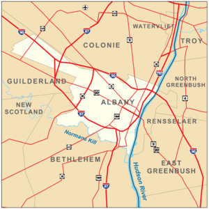 Map of Albany, New York, United States.