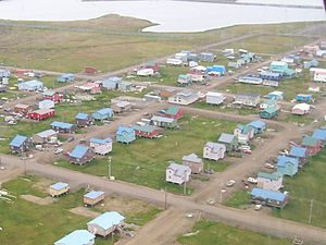 Barrow, Alaska from the air. Note the houses a...