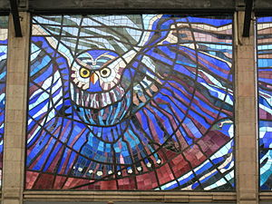The owl, king of the night in the cosmovitral