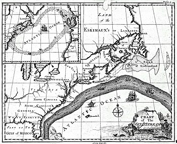 English: Earliest known map of the Gulf Stream