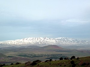 English: Snowy Mount Hermon as seen from Mt. B...