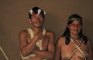 Man and woman from Huaorani village. Photograp...