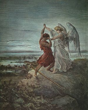 English: Jacob Wrestling with the Angel. Česky...