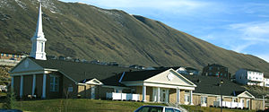 Latter-day Saint chapel in suburban Salt Lake City