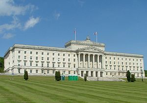 Stormont Parliament building outside Belfast, ...
