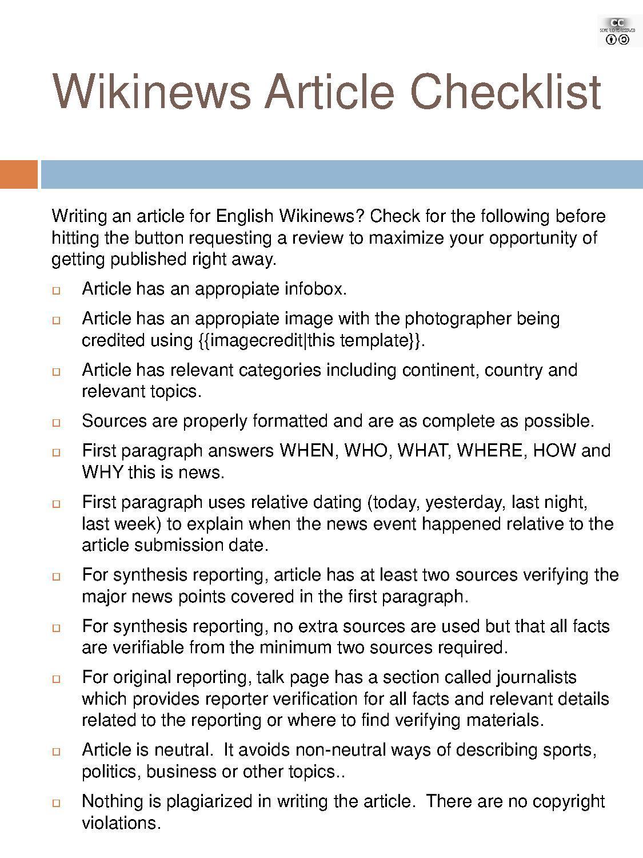 File Wikinews Article Checklist