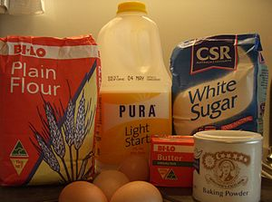Ingredients for Cookbook:1-2-3-4 Cake. From le...